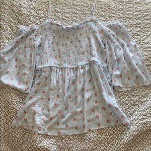 3/4 sleeve off shoulder maurices floral top